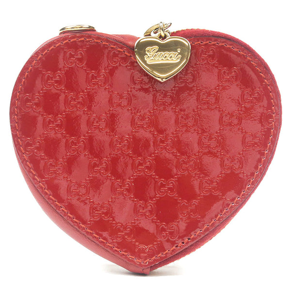 GUCCI-Guccissima-Enamel-Leather-Heart-Coin-Purses-Red-152615