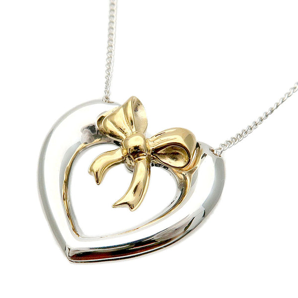 Tiffany&Co.-Heart-Ribbon-Necklace-Silver-925-K18-Yellow-Gold