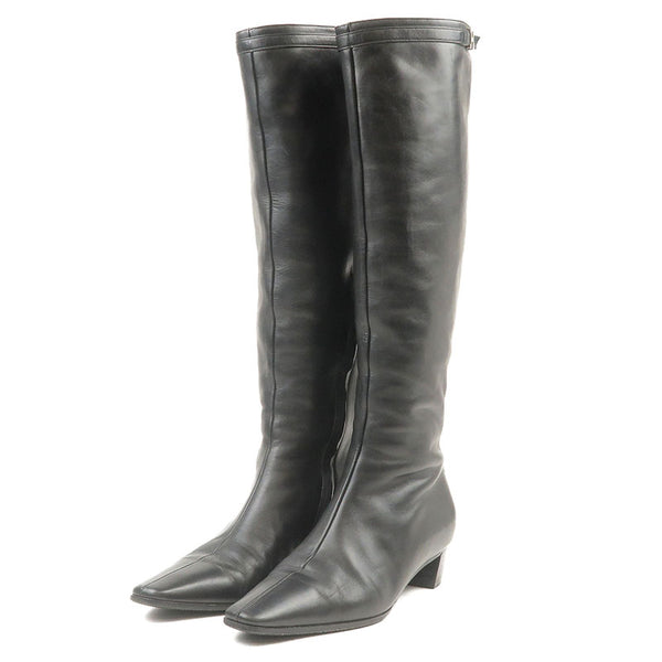 HERMES-Leather-Long-Boots-Black-Size-36-23.0-23.5cm