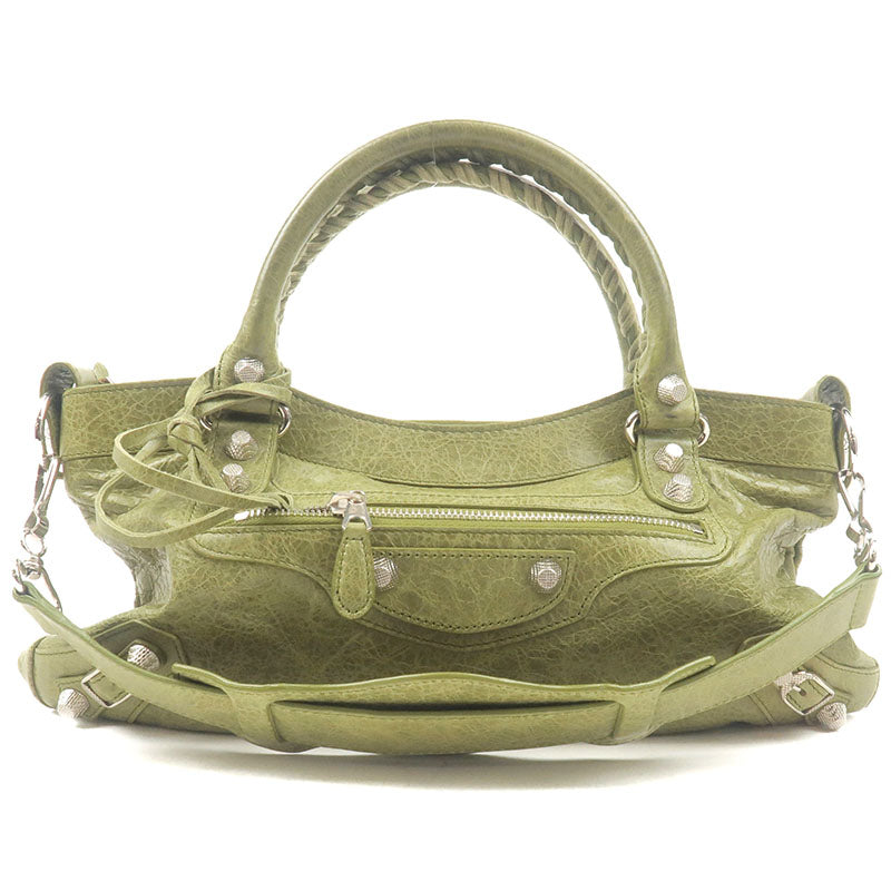 BALENCIAGA-Giant-First-Leather-2Way-Bag-Hand-Bag-Green-240577