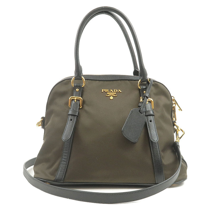 PRADA-Nylon-Leather-2Way-Hand-Bag-Shoulder-Bag-Khaki-Black-1BB013