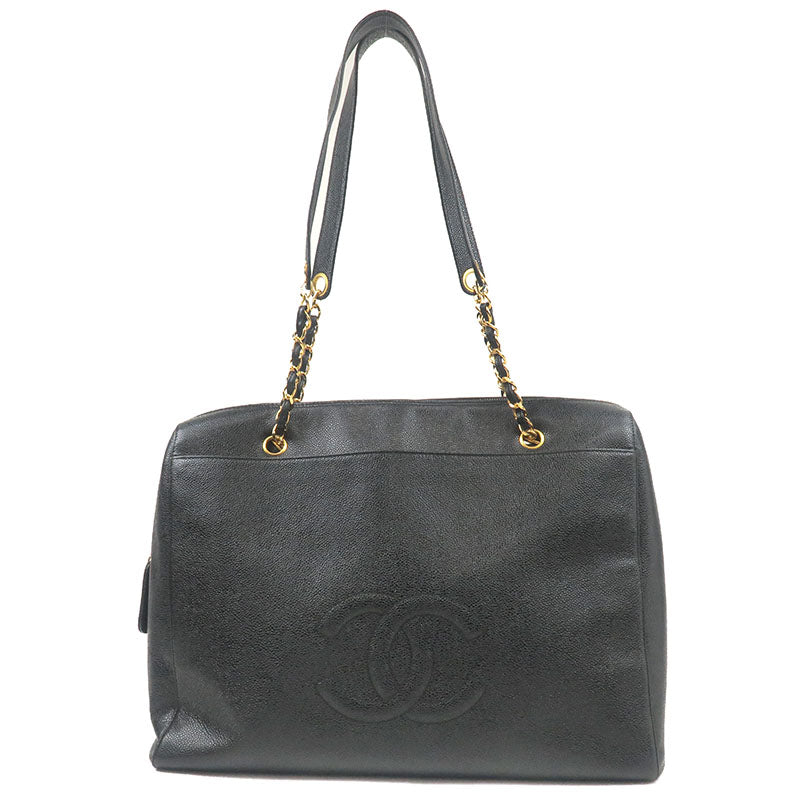 CHANEL-Coco-Mark-Caviar-Skin-Chain-Tote-Bag-Black