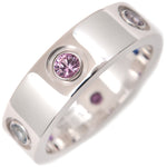 Cartier Love Ring Multi Color Stone White Gold #52 US6 EU52.5