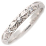 CHANEL Matelasse Ring Small 3P Diamond Platinum #49 US5 EU49