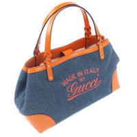 GUCCI Denim Leather Tote Bag Navy Orange 348715-dct-ep_vintage luxury Store
