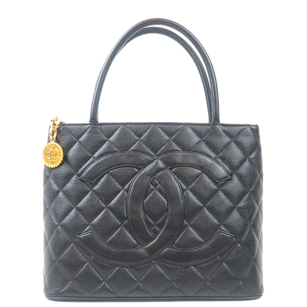 CHANEL Caviar Skin Tote Bag Black Gold Metal Fittings A01804