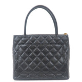 CHANEL Caviar Skin Tote Bag Black Gold Metal Fittings A01804-dct-ep_vintage luxury Store