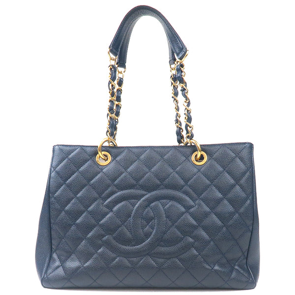 CHANEL Caviar Skin GST Chain Tote Bag Navy Gold A50995