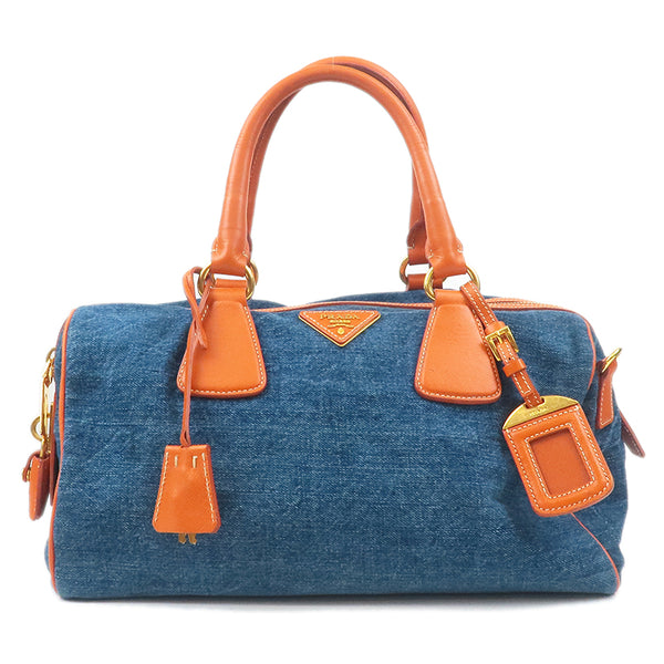 PRADA Denim Leather Hand Bag Indigo Blue Orange