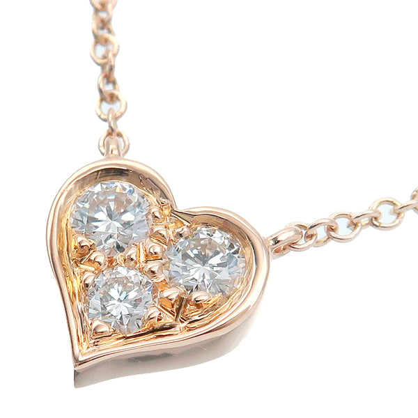 Tiffany&Co. Sentimental Heart 3P Diamond Necklace Rose Gold