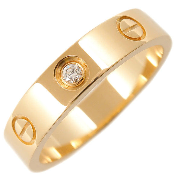 Cartier Mini Love Ring 1P Diamond K18 Yellow Gold #50 US5.5