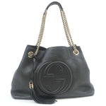 GUCCI-SOHO-Leather-Chain-Shoulder-Bag-Black-308982