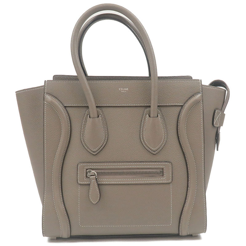 CELINE-Luggage-Micro-Shopper-Leather-Hand-Bag-Gray-167793