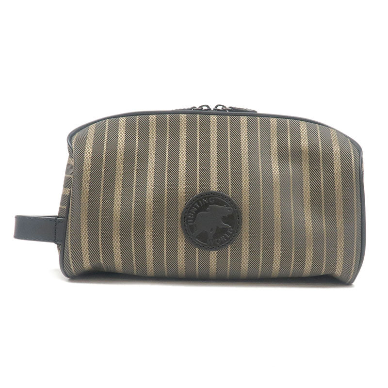 HUNTING-WORLD-Nylon-Canvas-Leather-Hand-Bag-Pouch-Khaki-Black