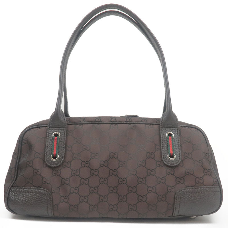GUCCI-Sherry-GG-Nylon-Leather-Mini-Boston-Bag-Hand-Bag-293594
