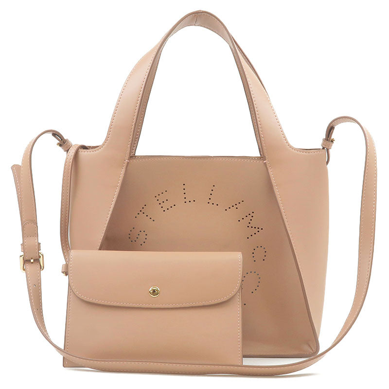 STELLA-McCARTNEY-Leather-2Way-Shoulder-Bag-Tote-Bag-Pink-Beige