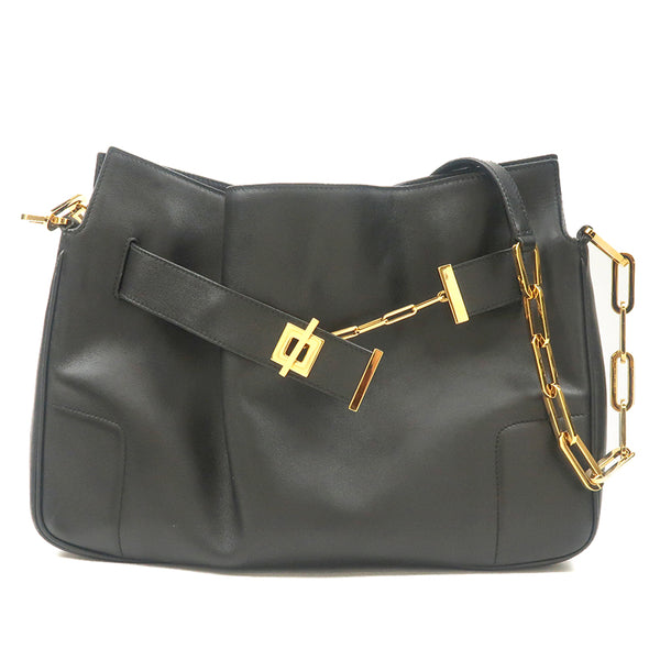 GUCCI Leather Chain Shoulder Bag Black 001.4043