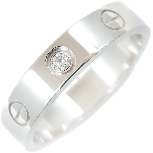 Cartier Mini Love Ring 1P Diamond K18 White Gold #51 US5.5-6
