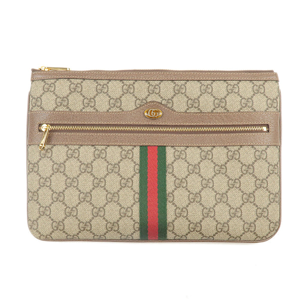 GUCCI GG Supreme Ophidia Clutch Bag Beige Brown 517551