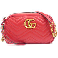 GUCCI Marmont Leather Chain Shoulder Bag Red 447632-dct-ep_vintage luxury Store