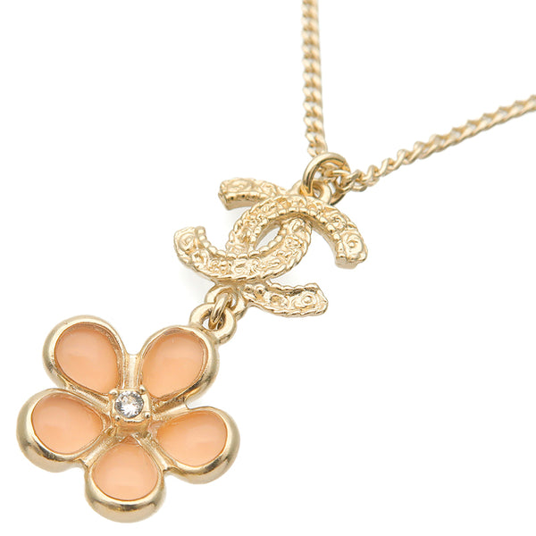 CHANEL Coco Mark Rhinestone Flower Charm Necklace Champagne Gold