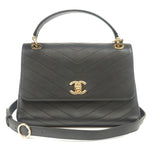 CHANEL V Stitch Leather 2way Top Handle Flap Bag A57147 Black