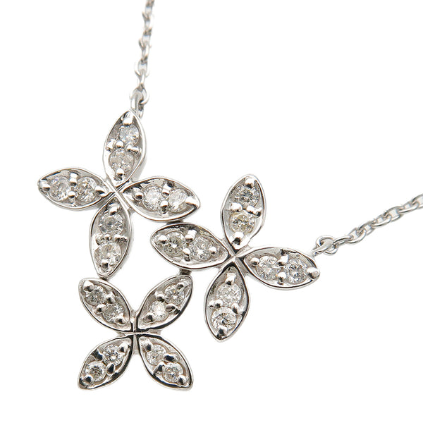 VENDOME AOYAMA Flower Charm Diamond Necklace 0.15ct White Gold