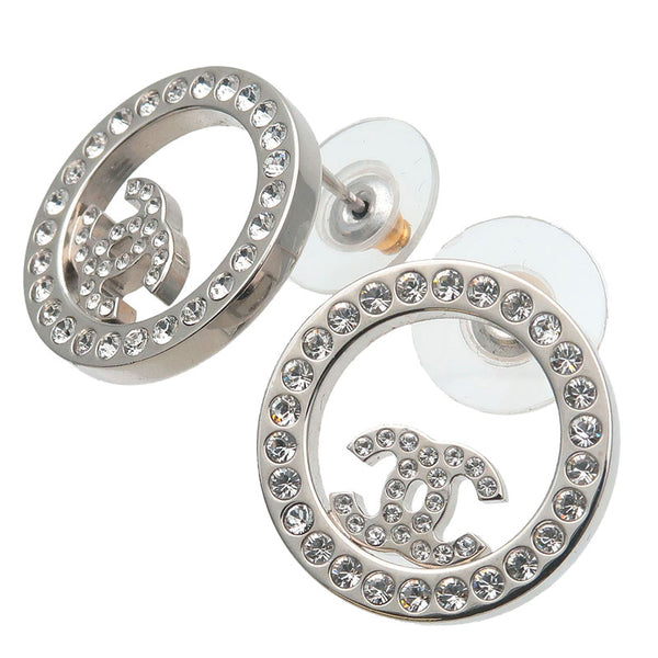 CHANEL-Coco-Mark-Rhinestone-Earrings-Silver-B19V