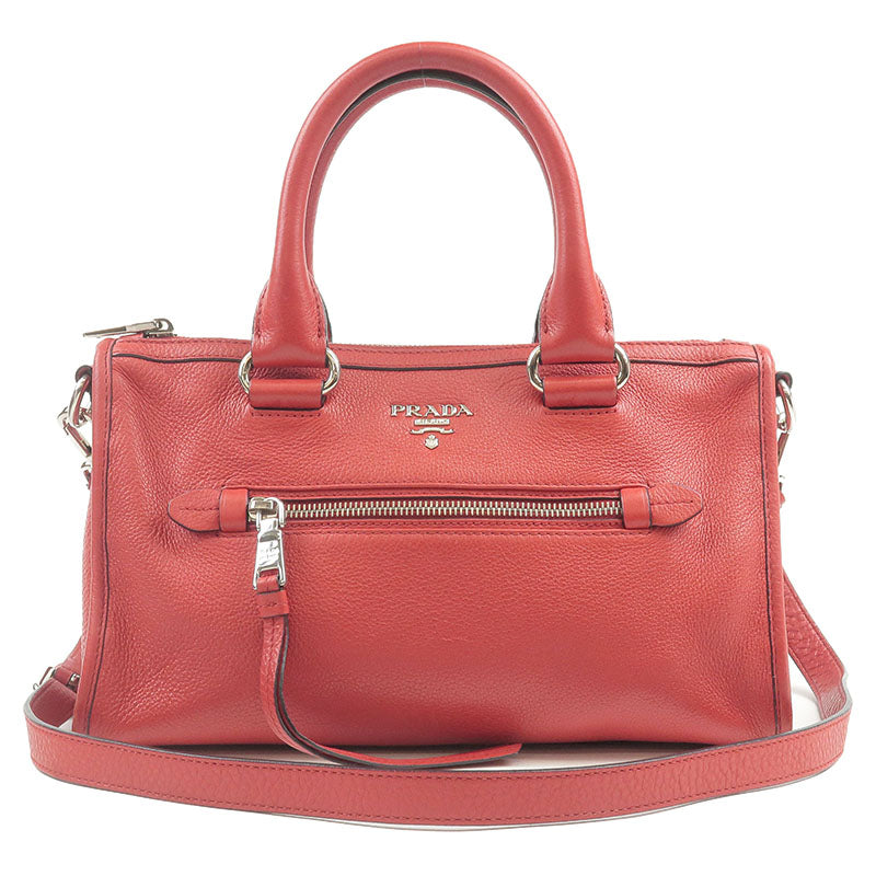 PRADA-Leather-2Way-Hand-Bag-Shoulder-Bag-Red