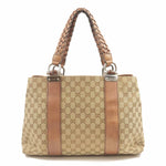 GUCCI Bamboo Bar GG Canvas Leather Tote Bag Brown 232947