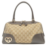 GUCCI Lovely GG Canvas Leather Hand Bag Beige Brown 257067