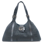 FENDI Zucchino Canvas Leather Shoulder Bag Black