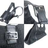 FENDI Zucchino Canvas Leather Shoulder Bag Black-dct-ep_vintage luxury Store
