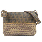 FENDI Zucca Zucchino PVC Leather Shoulder Bag Brown Khaki