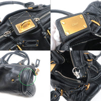 Chloé Paddington Leather Hand Bag Black-dct-ep_vintage luxury Store