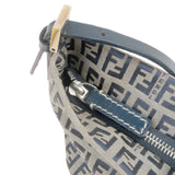 FENDI Zucchino Print Canvas Leather Hand Shoulder Bag Navy-dct-ep_vintage luxury Store