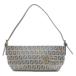 FENDI Zucchino Print Canvas Leather Hand Shoulder Bag Navy