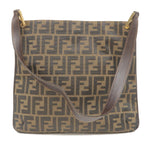 FENDI Zucca Print Canvas Leather Shoulder Bag Brown Khaki