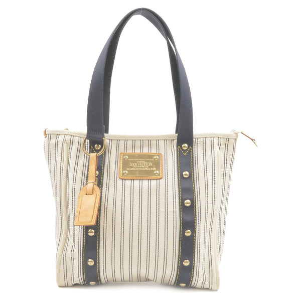 Louis Vuitton Antigua Cabas MM Tote Bag Navy Stripe M40132
