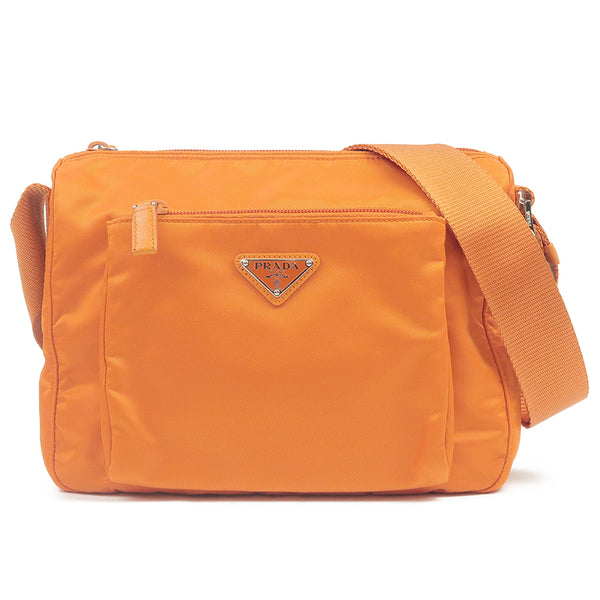 PRADA Nylon Leather Shoulder Bag Orange 1BC909