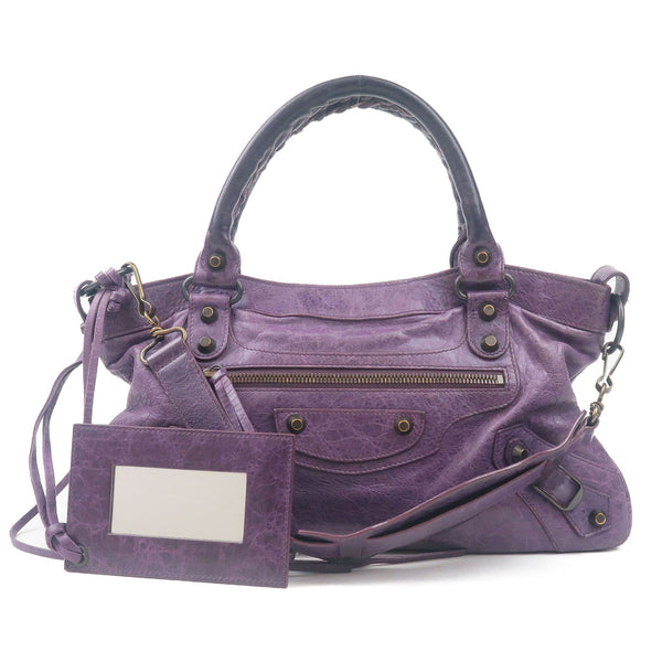 BALENCIAGA The First Leather 2Way Hand Bag Purple 10333208