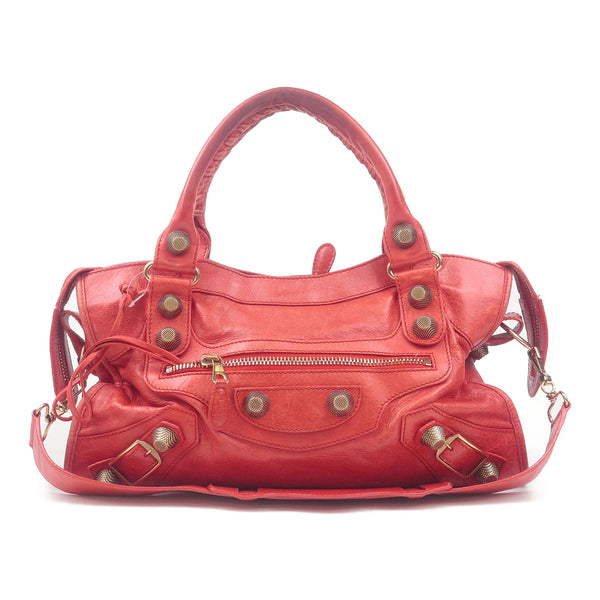 BALENCIAGA Giant City Leather 2Way Hand Bag Red 170384