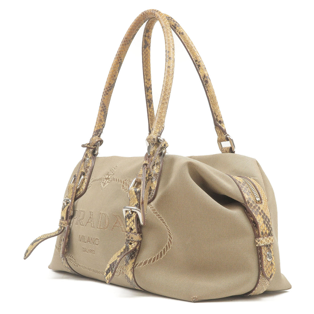 PRADA Jacquard Python Hand Bag Beige BR3588-dct-ep_vintage luxury Store