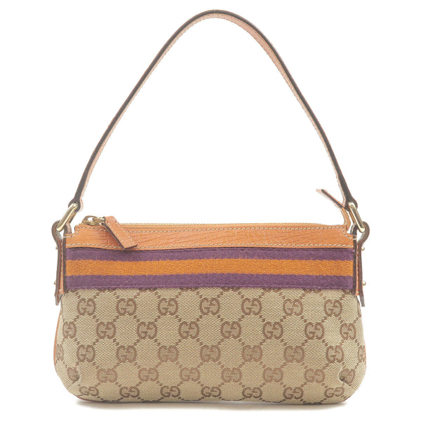 GUCCI Webbing Line GG Canvas Leather Purse Pouch Brow 145970-dct-ep_vintage luxury Store