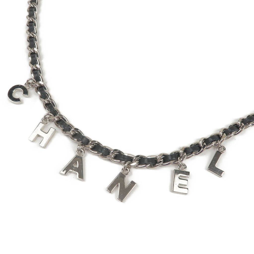 CHANEL CoCo Mark Logo Leather Chain Belt Silver Black-dct-ep_vintage luxury Store