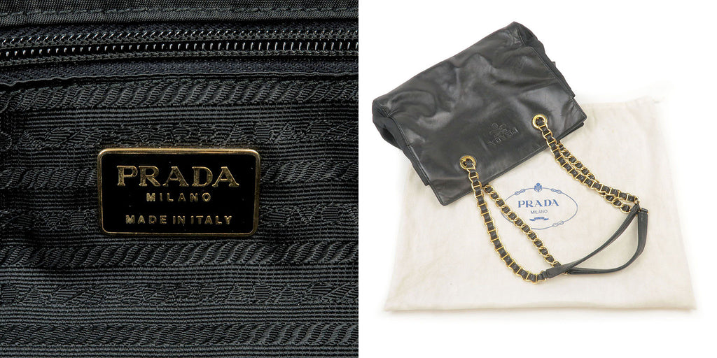 PRADA Nylon Leather Chain Tote Shoulder Bag Black-dct-ep_vintage luxury Store