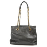 PRADA Nylon Leather Chain Tote Shoulder Bag Black