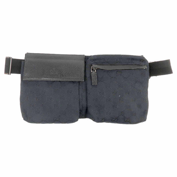 GUCCI GG Canvas Leather Waist Bag Waist Pouch Black 28566-dct-ep_vintage luxury Store