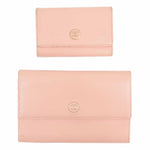 CHANEL Set of 2 Coco Button Leather Wallet & Key Case Pink