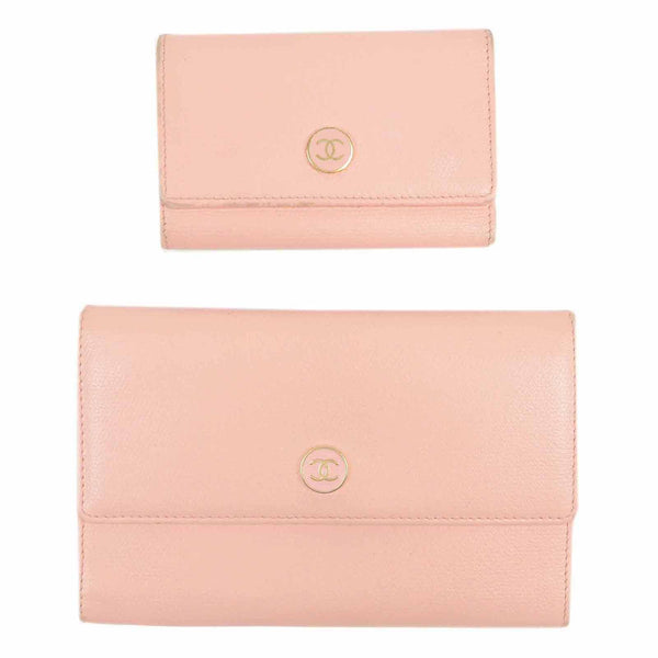 CHANEL Set of 2 Coco Button Leather Wallet & Key Case Pink-dct-ep_vintage luxury Store